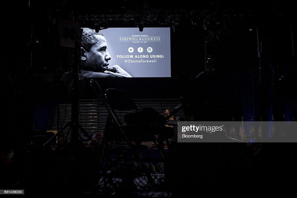 A sign is displayed for the farewell address of U.S. President Barak Obama, not pictured, as the stage is set in Chicago, Illinois, U.S., on Tuesday, Jan. 10, 2017. Obama will draw an implicit contrast with his successor in his farewell address, acknowledging that despite his historic election eight years ago his vision for the country will exit the White House with him. Photographer: Christopher Dilts/Bloomberg via Getty Images