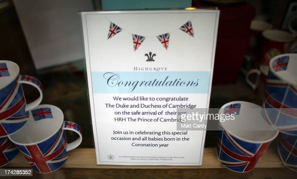 A sign is displayed in the Highgrove shop to celebrate the Royal birth on July 23 2013 in Tetbury England Catherine Duchess of Cambridge yesterday...