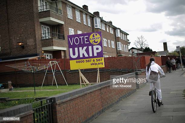 Sign is displayed near residential housing on April 13, 2015 in South Okendon, England. Britain goes to the polls in a General Election on May 7.