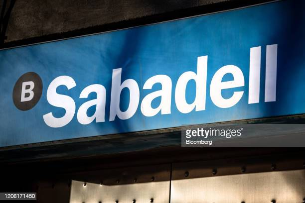 A sign is displayed outside a Banco de Sabadell SA bank branch in Barcelona Spain on Saturday March 7 2020 Spanish bank shares soared after the...