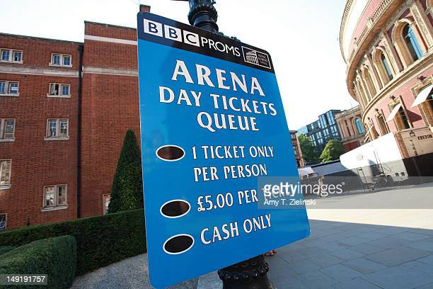A sign is displayed outside before queue for Prom 13 when Daniel Barenboim conducts the Beethoven Symphony No 8 in F major with the WestEastern Divan...