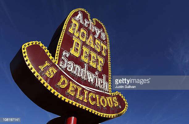 A sign is displayed outside of an Arby's restaurant on January 20 2011 in South San Francisco California Wendy's/Arby's Group announced that it may...