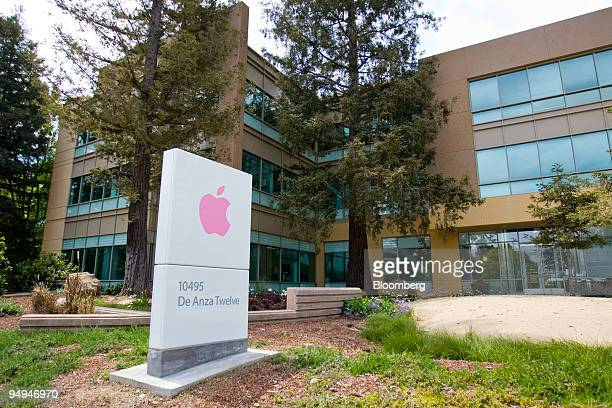 A sign is displayed outside the De Anza Twelve building on the headquarters campus of Apple Inc in Cupertino California US on Tuesday April 21 2009...