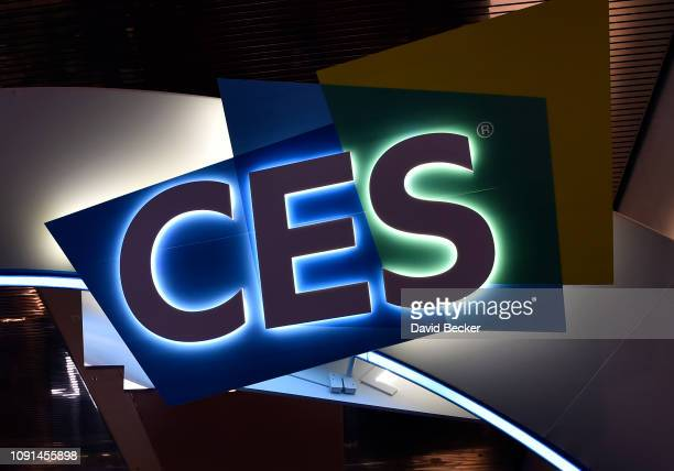 CES sign is illuminated at CES 2019 at the Las Vegas Convention Center on January 8 2019 in Las Vegas Nevada CES the world's largest annual consumer...