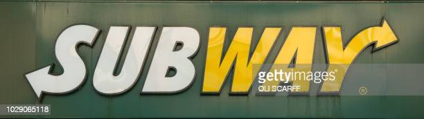 Sign is pictured above the entrance to a branch of the fast food chain Subway in the town centre of Darlington, northern England on September 6, 2018.