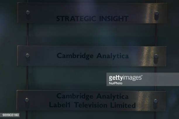 A sign is pictured as London headquarters of Cambridge Analytica on New Oxford Street in central London on March 21 2018 The company is accused of...