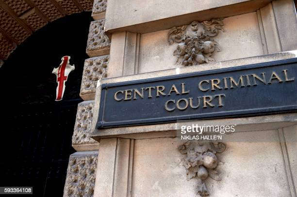 A sign is pictured at the main entrance of the Central Criminal Court commonly referred to as The Old Bailey in central London on August 21 2016 Over...