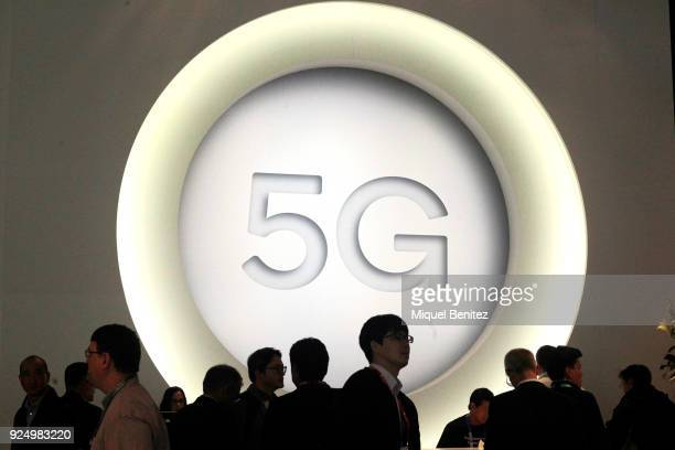 A 5G sign is pictured at the Quantum stand during the Mobile World Congress the world's biggest mobile fair on February 27 2018 in Barcelona The...