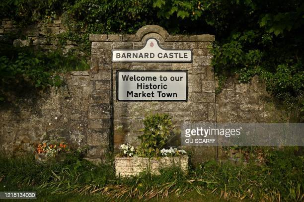 A sign is pictured in Barnard Castle less than 30 miles southwest of Durham north east England on May 25 a popular tourist village that Number 10...