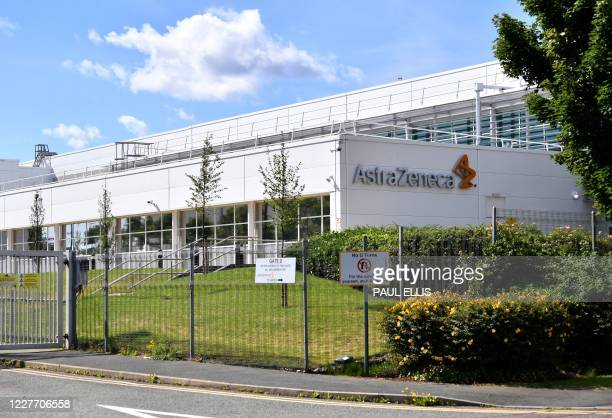 A sign is pictured outside the AstraZeneca factory in Liverpool north west England on July 20 2020 Britain's government has already said it would...