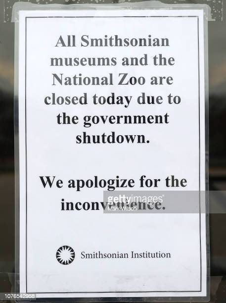 A sign is placed on a door of the Smithsonian National Museum of American History stating that the museum is closed as the partial shutdown of the US...