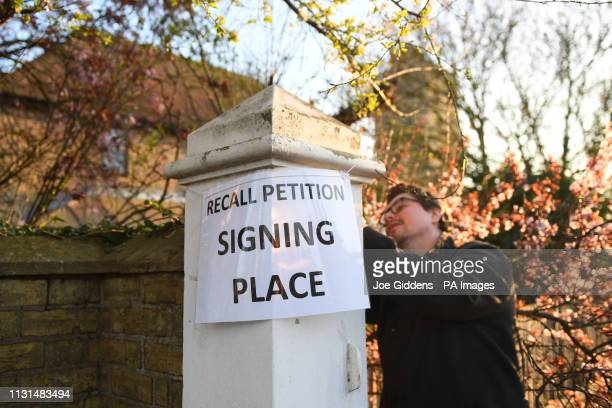 A sign is placed outside Bedford Hall in Thorney Peterborough where voters are being given the opportunity to sign a petition to force a byelection...