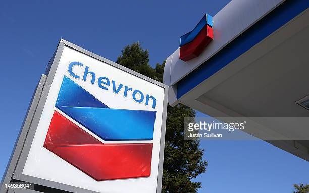 A sign is posted at a Chevron gas station on July 27 2012 in San Rafael California Chevron reported a 68 percent decline in second quarter earnings...