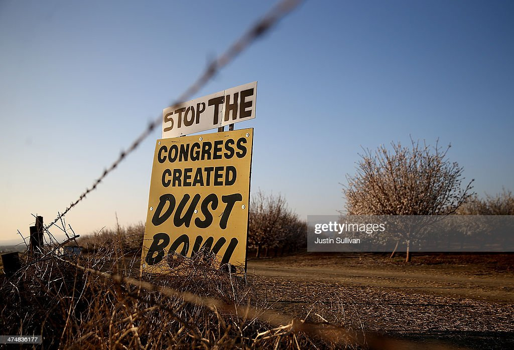 A sign is posted at an almond orchard on February 25, 2014 in Los Banos, California. As the California drought continues and farmers struggle to water their crops, the U.S. Bureau of Reclamation officials announced this past Friday that they will not be providing Central Valley farmers with any water from the federally run system of reservoirs and canals fed by mountain runoff.