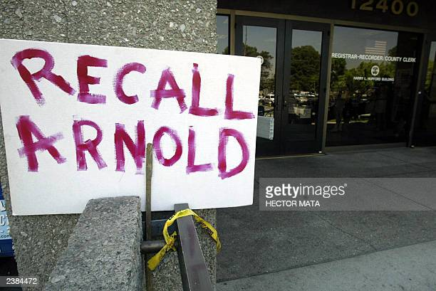 A sign is posted at the entrance of the Los Angeles County Registrar's Office in Norwalk CA during the last day to register candidates for the post...