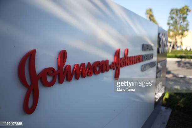 Sign is posted at the Johnson & Johnson campus on August 26, 2019 in Irvine, California. A judge has ordered the company to pay $572 million in...