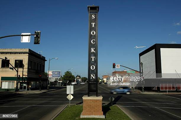 Sign is posted in a deserted section of downtown Stockton April 29, 2008 in Stockton, California. As the nation continues to see widespread home loan...