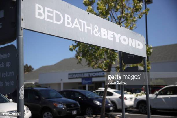 Sign is posted in front of a Bed Bath & Beyond store on July 09, 2020 in Larkspur, California. Bed Bath & Beyond announced that it plans to close 200...