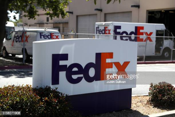 Sign is posted in front of a FedEx shipping center on June 25, 2019 in San Francisco, California. FedEx is suing the US Department of Commerce for...
