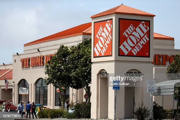 A sign is posted in front of a Home Depot store on August 14 2018 in El Cerrito California Home Depot reported second quarter earnings that surpassed...