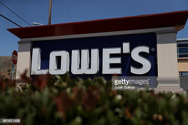 A sign is posted in front of a Lowes home improvement store on August 17 2016 in South San Francisco California Lowes second quarter profits fell...