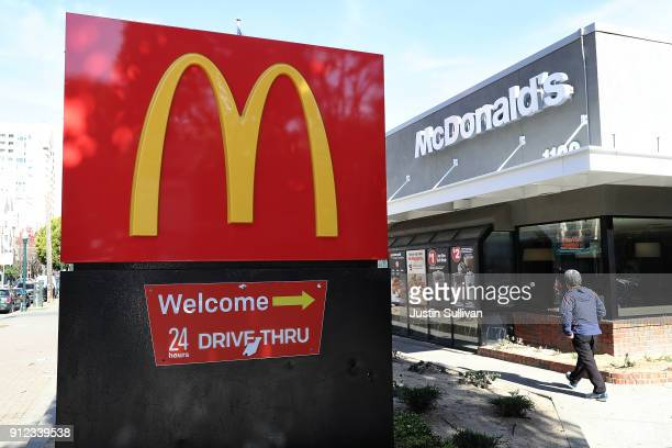 A sign is posted in front of a McDonald's restaurant on January 30 2018 in San Francisco California McDonald's reported betterthanexpected fourth...