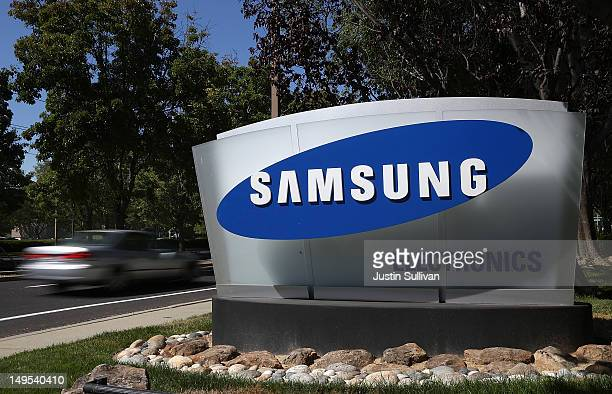 A sign is posted in front of a Samsung Electronics office on July 30 2012 in San Jose California The trial in the Apple Inc and Samsung Electronics...