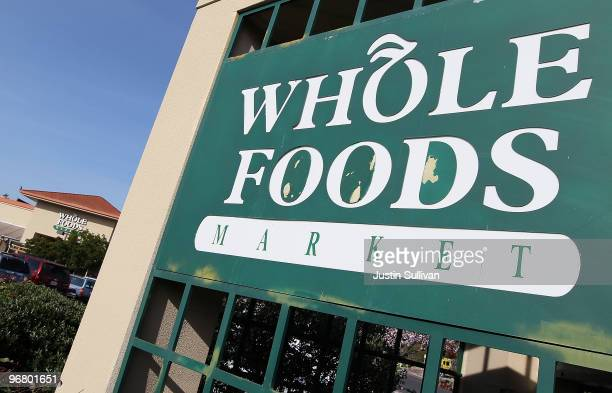 A sign is posted in front of a Whole Foods store February 17 2010 in San Rafael California Whole Foods Market reported a 79 percent surge in...