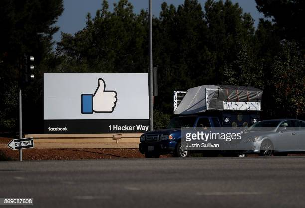 Sign is posted in front of Facebook headquarters on November 1, 2017 in Menlo Park, California. Facebook is expected to report third quarter earnings...