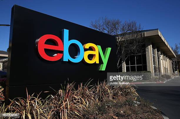 Sign is posted in front of the eBay headquarters on January 22, 2014 in San Jose, California. EBay Inc. Will report fourth quarter earnings today...