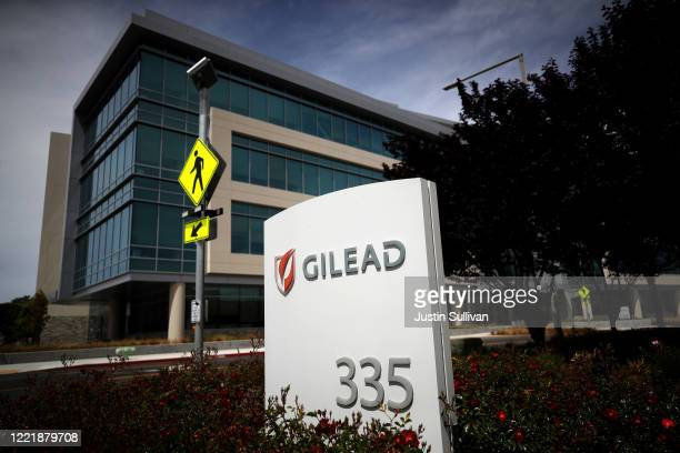 Sign is posted in front of the Gilead Sciences headquarters on April 29, 2020 in Foster City, California. Gilead Sciences announced preliminary...