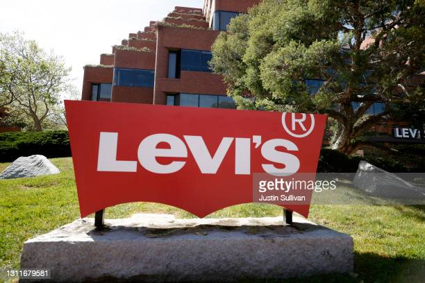 Sign is posted in front of the Levi Strauss & Co. Headquarters on April 09, 2021 in San Francisco, California. Levi Strauss & Co. Reported first...