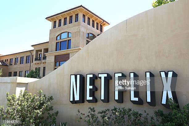 A sign is posted in front of the Netflix headquarters on July 20 2011 in Los Gatos California Online movie rental company Netflix will report...