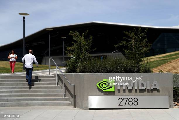 Sign is posted in front of the Nvidia headquarters on May 10, 2018 in Santa Clara, California. Nvidia Corporation will report first quarter earnings...