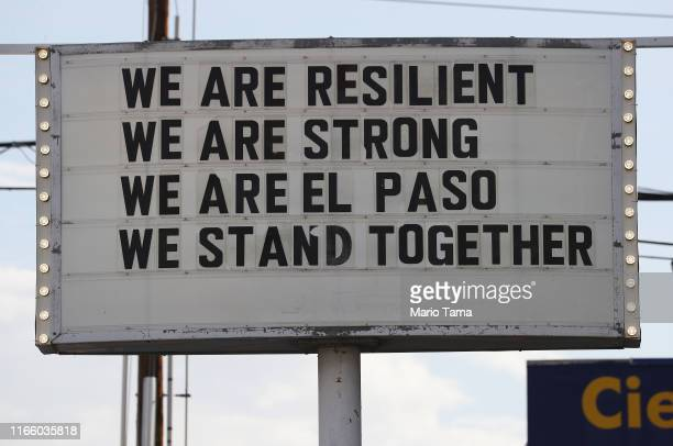 A sign is posted near the scene of a mass shooting at a Walmart which left at least 20 people dead on August 4 2019 in El Paso Texas A 21yearold male...