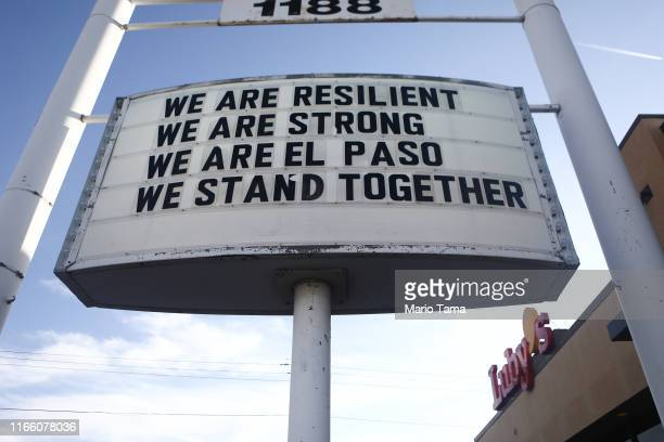 A sign is posted near the scene of a mass shooting which left at least 20 people dead on August 4 2019 in El Paso Texas A 21yearold male suspect was...