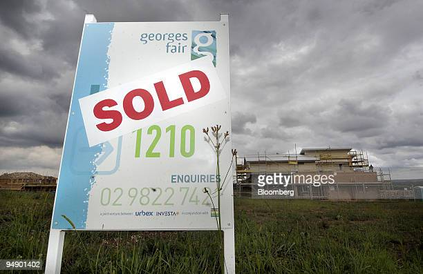 A SOLD sign is posted on the construction site of a new house in Sydney Australia on Tuesday Feb 5 2008 The number of loans granted to people to...