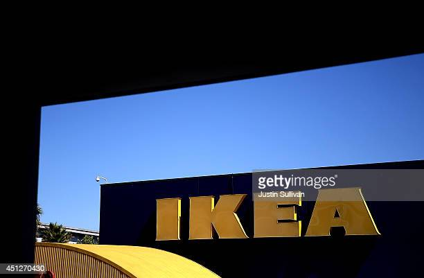 A sign is posted on the exterior of an IKEA store on June 26 2014 in Emeryville California Swedish furniture retailer IKEA announced that it plans to...