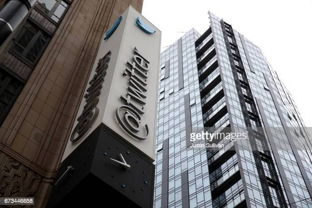 Sign is posted on the exterior of Twitter headquarters on April 26, 2017 in San Francisco, California. Twitter reported better-than-expected first...