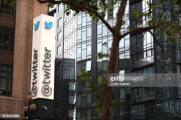 A sign is posted on the exterior of Twitter headquarters on April 26 2017 in San Francisco California Twitter reported betterthanexpected first...
