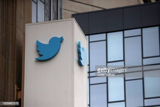 A sign is posted on the exterior of Twitter headquarters on July 26 2018 in San Francisco California Twitter is expected to announce strong second...