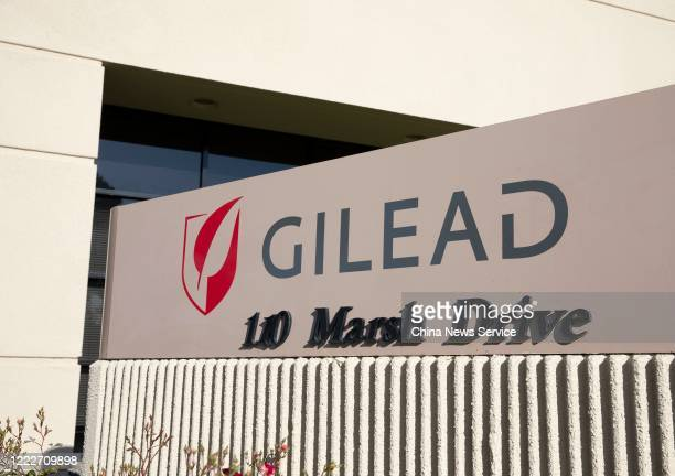 Sign is posted outside Gilead Sciences Inc. Headquarters on May 3, 2020 in Foster City, California.