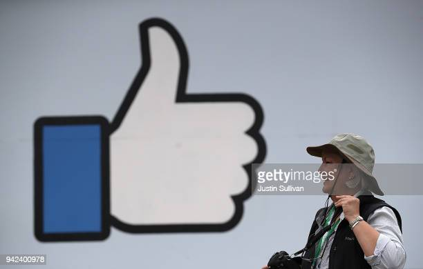 "Sign is posted outside of Facebook headquarters on April 5, 2018 in Menlo Park, California. Protesters with the activist group ""Raging Grannies""..."