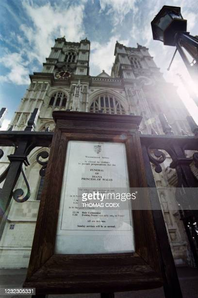 Sign is posted outside Westminster Abbey, to announce the arrangements for the funeral of Diana, Princess of Wales in London On September 2, 1997.