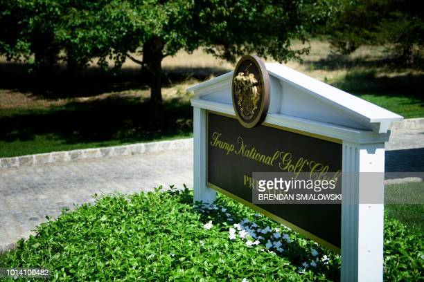 A sign is seen at an entrance to the Trump National Golf Club August 9 2018 in Bedminster New Jersey