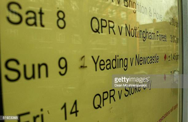 A sign is seen at Loftus Road Stadium prior to the FA Cup match between Yeading FC and the Newcastle United on January 7 2005 in London