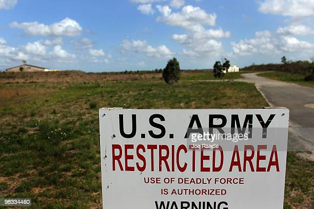 A sign is seen at the entrance to the missle base that was built to launch either conventional or nuclear tipped Nike missiles in reaction to any...