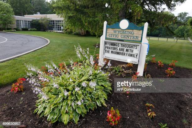 A sign is seen at Wyoming High School in Wyoming Ohio on June 22 before the funeral for Otto Warmbier Warmbier an American university student who...