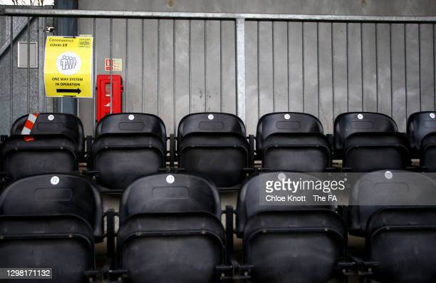 Sign is seen displaying a 'one way system in operation' as a Covid-19 protocol prior to the Barclays FA Women's Championship match between London...