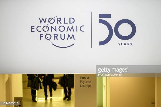 A sign is seen inside the Congress center ahead of the annual meeting of the World Economic Forum on January 20 2020 in Davos
